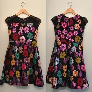 MINI DONNA Girls Floral Metallic Dress